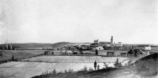 Bild av tavla över Uppsala från 1857