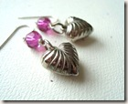 silver and fuchsia heart earr