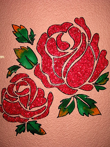 Crystal glass painting beautiful red roses calligraphy for Best glass painting designs