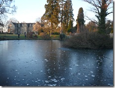 across iced pond to building