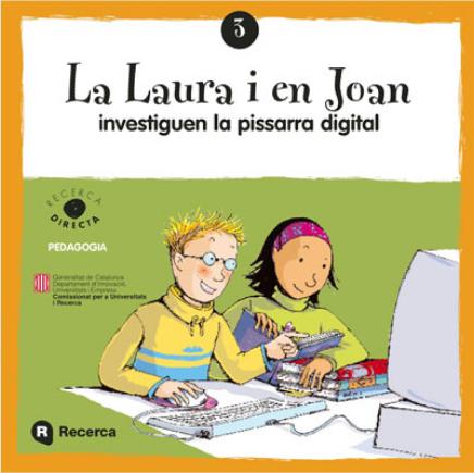 La Laura i en Joan investiguen la pissarra digital