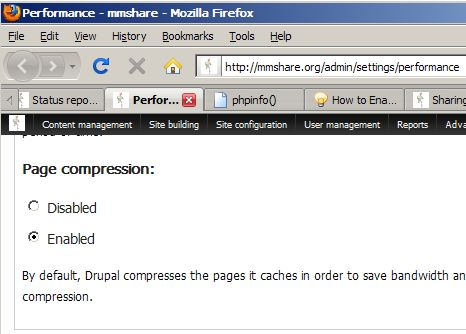 Drupal Built in GZip Compression