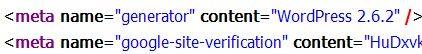 WordPress meta generator code