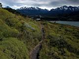 Walking along Rio Paine