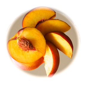 Prunus Persica: Peach and Slices by Venetia Featherstone-Witty - Food & Drink Fruits & Vegetables ( fruit, peach half with pit, prunus persica, edible fruit, peach half and slices, peach, , Food & Beverage, meal, Eat & Drink )
