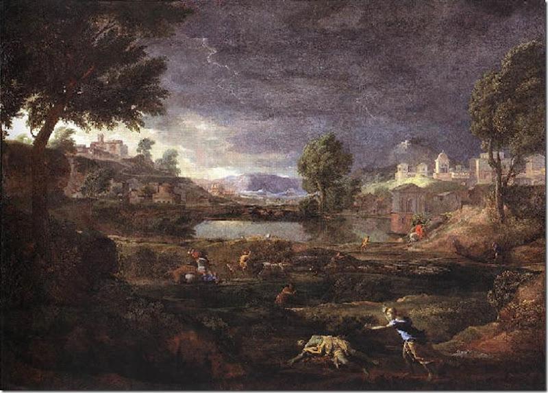 POUSSIN PAISAJE TORMENTOSO CON PIRAMO Y TISBE 1651