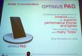 LG Optimus Pad, 8 Inch Display Apple's footsteps