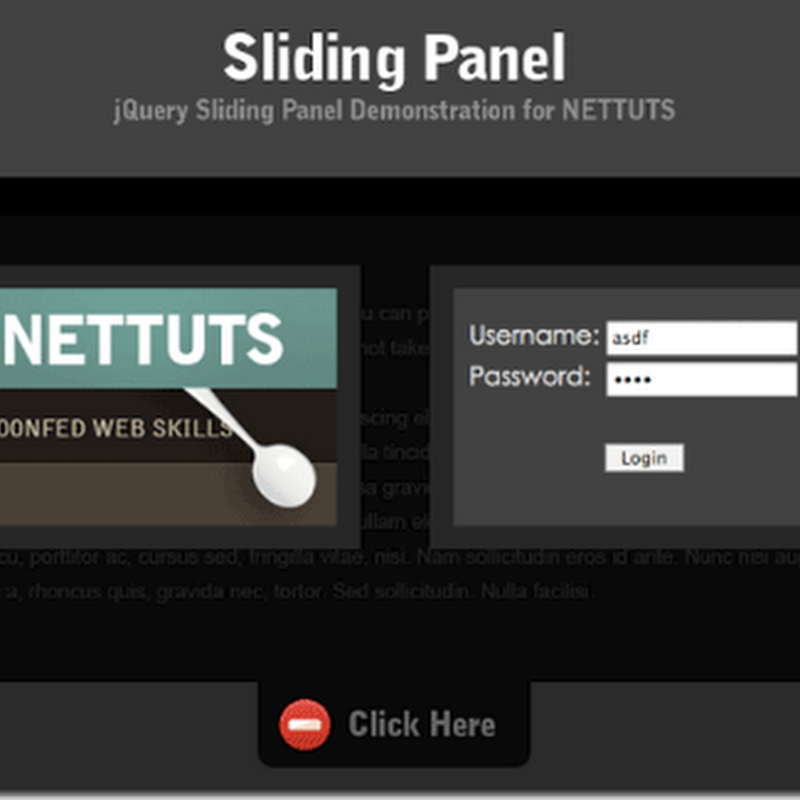 10 beautiful Sliding Panel with jQuery Tutorial