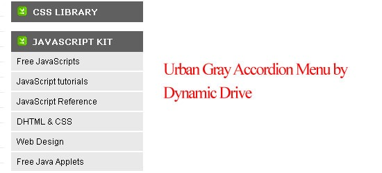 Urban Gray Accordion Menu
