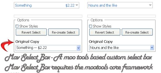 Mav SelectBox - A moo tools based custom select box