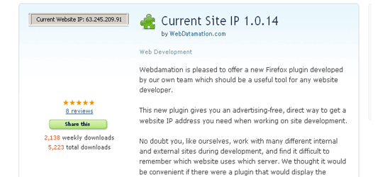 Current Site IP firefox Add-ons
