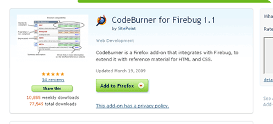 CodeBurner for Firebug 1.1