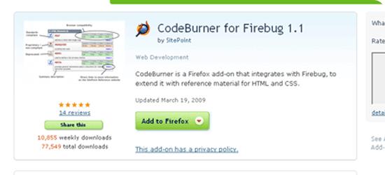 CodeBurner for Firebug 1.1