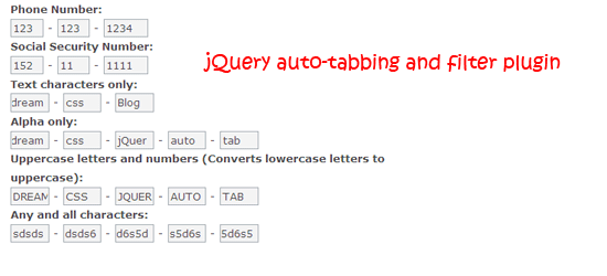 jQuery auto-tabbing and filter plugin
