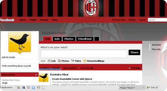 Theme for Facebook - Football - Milan