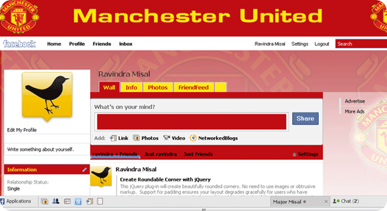 Theme for Facebook - Football - Manchester United