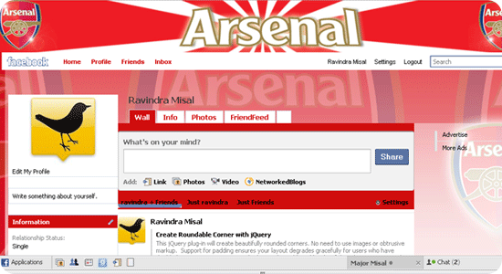Facebook theme - Football - Arsenal