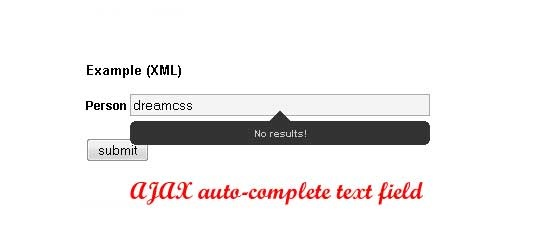 AJAX auto-complete text field