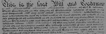 Henrietta Winn's will, 1856
