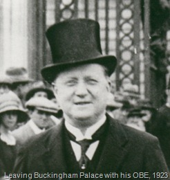 John McCarthy leaving Buckingham Palace after collecting his MBE, 1923