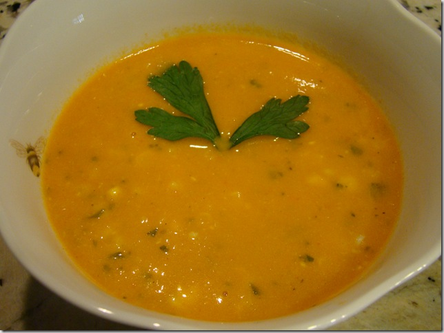 corn, red pepper and leek soup - Copy