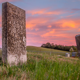 by Maurice FitzGerald - City,  Street & Park  Cemeteries ( sunset, soraxtm, beechgrove, tennessee, headstone )
