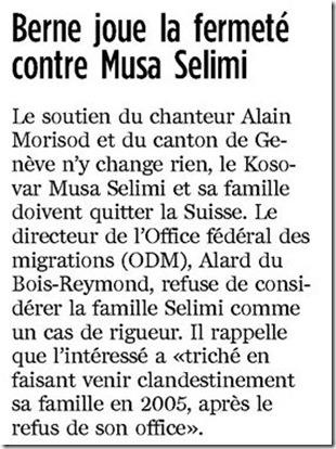 Musa Selimi renvoi