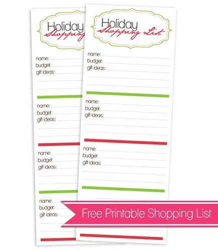 Free Printable Holiday Shopping List