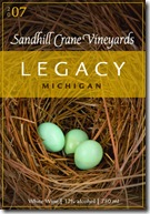 Sandhill Cranes wine lable--bottled for the Legacy Land Conservancy