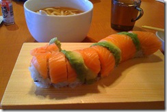 The good and the bland: tasty Michigan roll (foreground),  watery udon