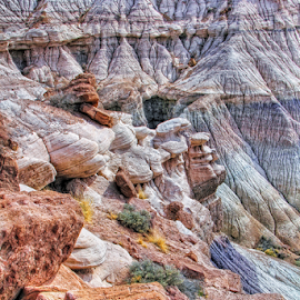 Painted Desert Rocks by Michael Buffington - Landscapes Deserts ( orange, purple, colorful, yellow, spring, magenta, environment, red, nature, color, blue, detailed, painted desert, natural, rocks,  )