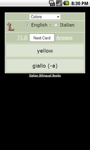Italian - English Flash Cards