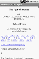 Screenshot of Works of Lord Byron