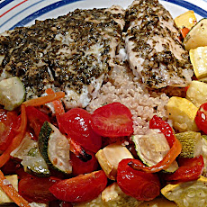 Pesto-topped Sole with Roasted Vegetables & Quinoa