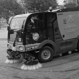 Street Sweeper by Donald Henninger - Transportation Other ( city parks, black and white, sony alpha, street, parks, equipment, turkey, istanbul )