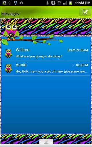 GO SMS - Zebra Rainbow Owl