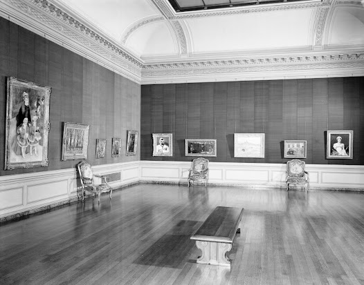 "East Gallery, looking northeast, showing new hanging of paintings after many works were removed to the New Vault for protection during World War II.  From left to right: ""La Promenade"" by Pierre-Auguste Renoir, ""Chestnut Trees at Jas de Bouffan"" by Paul Cézanne, ""Drawing"" attributed to François Boucher, ""Perseus and Andromeda"" by Giovanni Battista Tiepolo, ""The Village Orchestra"" by Jean-Baptiste Pater, ""Uncle Dominic"" by Paul Cézanne, ""The Bullfight"" by Édouard Manet, ""Vétheuil in Winter"" by Claude-Oscar Monet, ""The Rehearsal"" by Hilaire-Germain-Edgar Degas, and ""Comtesse Daru"" by Jacques-Louis David."