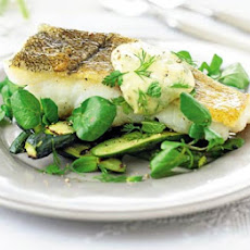 Courgette & Watercress Salad With Grilled Fish & Herbed Aïoli