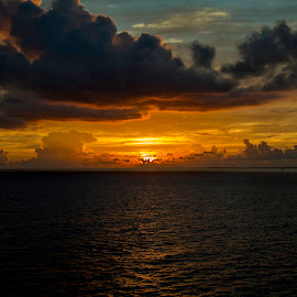 Caribbean Sea   by Shaun Edwards - Landscapes Sunsets & Sunrises ( water, waterscape, clouds and sea, sunrise )