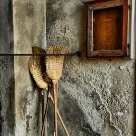 Brooms by Dalia Kager - City,  Street & Park  Street Scenes