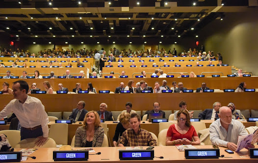 The international audience included UN diplomats, dignitaries and celebrities, including former New Zealand Prime Minister Helen Clark, Canadian actress Kim Cattrall (pictured second from the left) and Artist Laurie Anderson (pictured Centre)