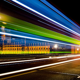 London bus by Paul Coomber - City,  Street & Park  Street Scenes ( bus, london, light trails, big ben, night shot,  )
