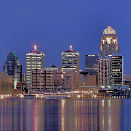 Louisville Skyline at Night by Matthew Winn - City,  Street & Park  Skylines ( water, gualt hotel, indiana, reflection, skyline, thunder over louisville, ohio river, louisville, night, river, kentucky )