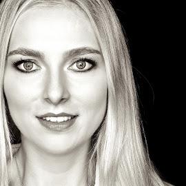 Smile by Joerg Kampers - People Portraits of Women ( studio, fuji x, blonde, black and white, woman )