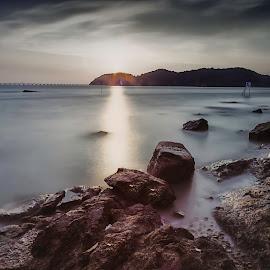 by Kuwadzer Kuhamid - Landscapes Sunsets & Sunrises ( sunset, sea, seascape, rocks, sun )