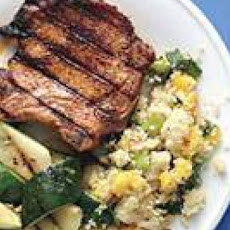 Pork Chops with Mango-Scallion Couscous