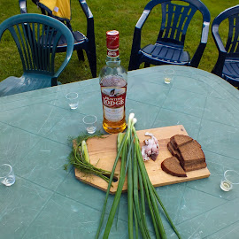 Time to drink by Remigijus Drevinskas - Food & Drink Alcohol & Drinks ( whiskey, chairs, bread, food, table, onion,  )