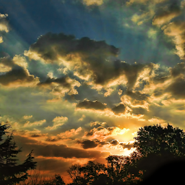 Sunset by Philip McKibbin - Instagram & Mobile iPhone ( setting, clouds, orange, sky, blue, sunset, beams, yellow, sun, rays )