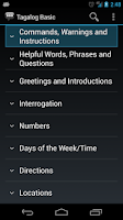 Screenshot of Tagalog Basic Phrases