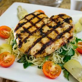 Chicken Picatta by Danielle Benbeneck - Food & Drink Plated Food ( salad, chicken, dinner, plated, food, pasta, restaurant,  )